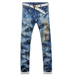 Wholesale Korean Printed Pants - New men's fashion trend in the Korean version personality retro cotton printing straight blue denim pants   28-38