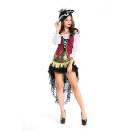 Wholesale Woman S Pirate Costumes - Free shipping 2016 new style women's night club wear party pirate costume Halloween uniform fancy dress outfit oversize s-3xl