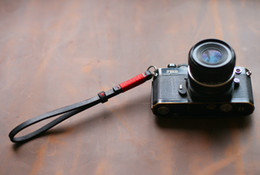 Wholesale Bags For Tripods - Thickened leather 8mm dark Handmade camera wrist strap for Rangefinder camera