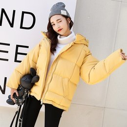 Wholesale Korean Snow Jacket - Korean Keep Warm Loose Hooded Cotton Clothing Feather Cotton BF Black Preppy Style Jackets Snow Keep Warm Clothes