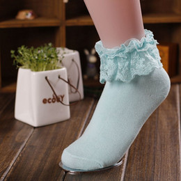 Wholesale Favorite Socks - Wholesale-1 Pair Sweet New Style Cute Vintage Japanese Ruffle Frilly Ankle Cotton Lace Socks Ladies Princess Girl Women Favorite Colorful