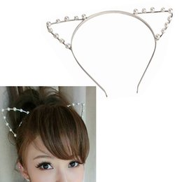 Wholesale Indian Pearl Headbands - Cute Cat Ear HeadBand Beaded Hair Band Metal Fashion Pearl Gold Silver For Girls Women Free dropship wholesale