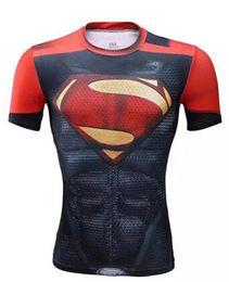 Wholesale Supermen T Shirt - 2016 Super Heroes superman Batman Captain America Transformers short T shirts Avenger 3D breathable tights Gym fitness