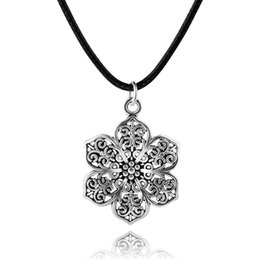 Wholesale Gypsy Pendant - Vintage Bohemian Ethnic Gypsy Tibetan Silver Plated Hollow Flower Pendant Rope Chain Necklace Women Turkish Indian Jewelry 6