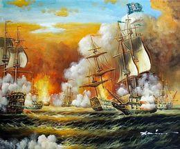 Bateau de pirate bataille océan mer canon des années 1800 des Caraïbes paysage marin, peint à la main moderne abstrait mur peinture à l'huile sur toile multi tailles Jn096 ? partir de fabricateur