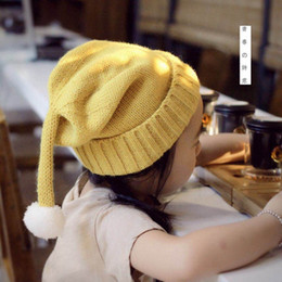 Wholesale Long Tail Elf Hat - Roll Hem Children Caps Long Tail White Pompon Cute Wool Warm 7 Colors Solid color Elf Hat Kids Gifts DA008