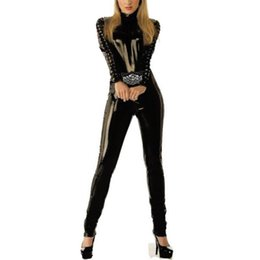 Wholesale Leather Catsuit Long Sleeve - Wholesale-Excellent Quality Black Faux Leather Catsuit Sexy Lace-Up in the Sleeves Long Jumpsuit Back to Crotch 2 Way Zipper Bodysuit