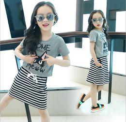 Wholesale Cat Zebra - Big Girls 2016 Summer Clothing Sets Children Cartoon Cat Short Sleeve T-shirt+Sleeveless Vest Stripe Dress 2pcs Set Kids Outfits Girl Suit