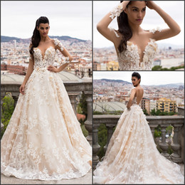 3d flooring designs Coupons - Graceful New Design Long Sleeve 2017 A Line Bridal Gowns Wedding Dresses Backless with 3D Floral Flowers Vestido De Novia Bridal Gowns