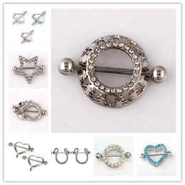 Wholesale Nipples Rings - Mix 10styles Rhinestone Body Piercing Navel Belly Button Ring heart arrow snake 316L allergic Medical C024