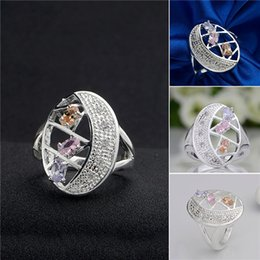 Wholesale Egg Plant - Brand new 10 pieces 925 silver Color stone egg-shaped ring GSSR389 Factory direct sale mix size fashion sterling silver finger ring