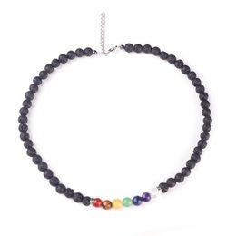 Wholesale Good Healing - New 8MM Lava-rock Beads Necklace 7 Reiki Chakra Healing Balance Bead Necklaces Women Fashion Yogo Jewelry Good Gift