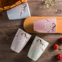 Wholesale Glazed Ceramic Coffee Mug - Elegant Cherry Blossom Ceramic Coffee Mugs Set of 4 Colorful Snowflake Glaze Japanese Tea Cup Water Mug 10 oz Wedding Gift