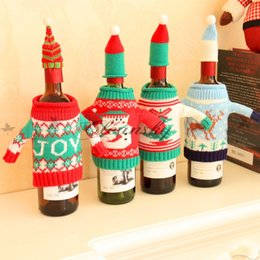 Wholesale Cotton Christmas Decorations - Cute Snowman ELK Red Wine Bottle Cover Bag Santa Claus Bottle Bag Sweater Clothes Hats Set Xmas trees Christmas Ornament Home Decor M361