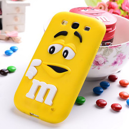 Wholesale S4 Case Bean - Wholesale-Silicone M&M Chocolate Design Rainbow Soft Beans Pattern Case cover For Samsung Galaxy S3 I9300,S4 I9500 Very Cute