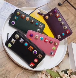 Wholesale Nylon Bag Business - NEWEST ALL STYLES monster eyes bag high quality CONTINENTAL WALLET unisex handbag single zipper rivet agate wallet 4 colors