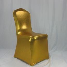 Sillas de hotel usadas online-50 unids bronceado Spandex cubierta de la silla para el hotel de la boda uso banquete sin silla de la barandilla envío gratis tienen multicolores