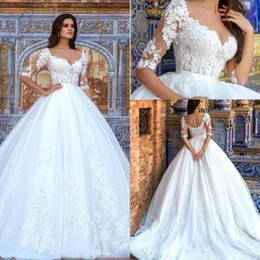 Wholesale Half Color Shirt - 2018 Modest Lace A Line Wedding Dresses with Half Sleeves Vintage V Neck Ruched Organza Plus Size Covered Buttons Bridal Gowns