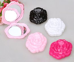 Wholesale double compact - Makeup Mirror Color Pink Retro Rose Flower Shape Cosmetic Makeup Compact Mirror 3D Stereo Double Sided 100pcs lot