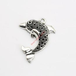 Braccialetto d'argento delfino online-10pcs pendenti di fascino del delfino placcato argento antico per la collana dei monili del braccialetto che fa mestiere Handmade DIY 33x26mm