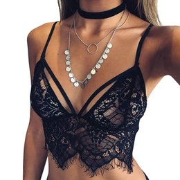 Wholesale Transparent Sheer Bras - Wholesale-NEW Hot 2016 Women Ladies Sheer Lace Bralette Bra Top Sexy Transparent Lingerie Brassiere Backless Strappy Bras brasier mujer Z1