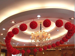 Wholesale Large Red Rose Balls - 2016 New Artificial Encryption Rose Silk Flower Kissing Balls Large Hanging Ball Christmas Ornaments Wedding Party Decoration white red pink