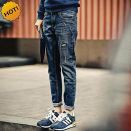 Wholesale teenagers jeans - Fashion 2016 Casual Teenagers Slim Fit Hole Ripped Jeans Men Destressed Pencil Pants Do Old Cuffed Denim Harem pants Men 28-34