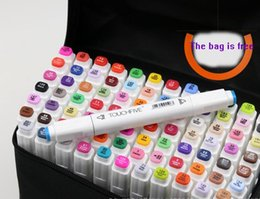 Wholesale Drawing Water Colors - 40pcs NEW touchfive white penholder pro art marker set copic markers micron pen Liner for drawing pen Manga Painting sakyra water brush