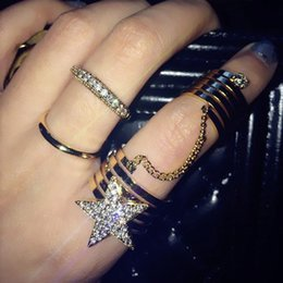 Wholesale Long Punk Rings - 2016 Fashion Star Gothic Punk Rock Rhinestone Cross Knuckle Joint Armor Long Full Finger Ring Gift for women girl D852E
