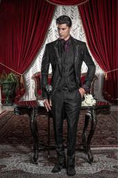 Wholesale Embroidery Bridegroom Suits - New Style Black Silver Gray Embroidery Groom Tuxedos Groomsmen Men's Wedding Prom Suits Bridegroom (Jacket+Pants+Vest)