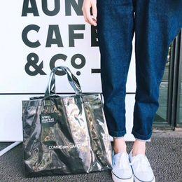 Wholesale Transparent Shopping Bags - COMME PVC Bags DES GARCONS Double Transparent LOGO Handbag Kraft Paper Shopping Bag Fashion High Capacity Waterproof Beach Travel HFBB011