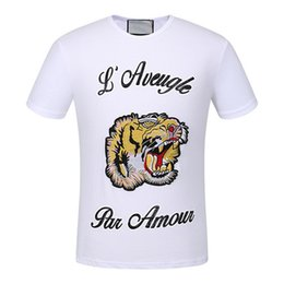 Wholesale Cool White Shirts - 2017 fashion top brand short sleeve animal printed t-shirt Black tiger embroidery hand - sleev tee shirts Hipster O-neck cool tops Unisex