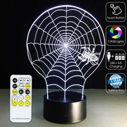 2019 ламповая сеть Паутина 3D Оптическая Лампа Night Light 7 RGB Огни Затемнения DC 5 В Батареи ИК-Пульт Дистанционного Управления Коробка скидка ламповая сеть
