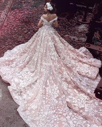 Wholesale Elie Wedding - 2016 Elie Saab New Style Blush Church Train Country Wedding Dresses 3D Floral Handmade Flower Off Shoulder Dubai Arabic Bridal Wedding Gowns