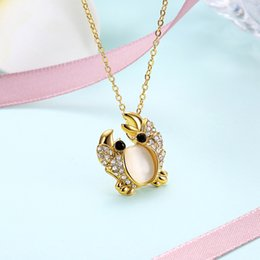 Wholesale Crab Mix - Fancy Jewelry Rose Gold Rose Silver Plated Cute Crab Shaped Shining Austria Crystal Pendant Necklace 3colors Mixed Wholesale