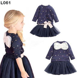 Wholesale Dot Tutu Dress Suits - Girls Princess Dot Bowknot Long Sleeve Shirts TUTU Skirts Dress Suit For Baby Children Kids Clothing Sets Bow Tops Cloth Tutu Dress Skirts