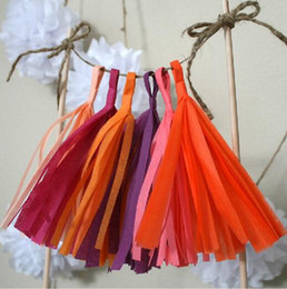 Wholesale Tissue Paper Garland Wholesale - 1Bag(5 pieces with rope)Tissue Paper Tassels Garland DIY Wedding Event Birthday Party Decoration Product Supply -WT001