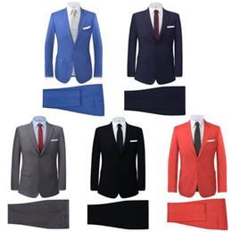 Wholesale Groomsmen Men Wedding Suits - men suit slim fit New Silm Fit Best Man Suit Blue Groomsman Mens Wedding Prom Suits