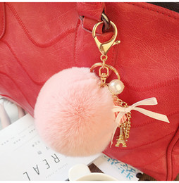 Wholesale Wholesale Key Light Cute - Keyring Key Ring Cute Genuine Rabbit Fur Ball Car Gold Keychain Handbag PomPom Charm Key Tassel Pendant Car Accessories SS0005