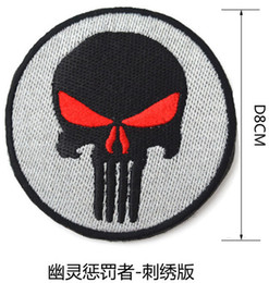 Wholesale Skull Eye Patch - Red eyes Ghost Punisher Skull High Quality Full Precision 3D Embroidery PVC Hook & Loop Armband Military Tactical Morale Patch