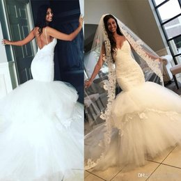 Wholesale Taffeta Lace Skirt - Sexy Spaghetti Straps 2017 Mermaid Lace Wedding Dresses with Sweetheart Backless Tiers Skirt Long Train Garden Beach Trumpet Bridal Gowns
