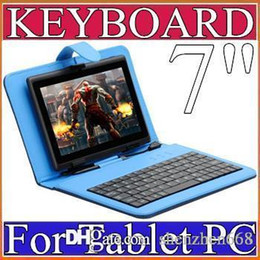 Wholesale Micro Keyboard Skins - 40X OEM Leather Case with Micro USB Interface Keyboard for 7 inch MID Tablet PC E-JP