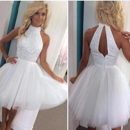 Wholesale Sequined Cocktail - Hot Summer Little White Homecoming Dresses 2016 Halter Neck Sequined Tulle Beach Party Dresses Backless Cocktail Prom Dresses BA2814