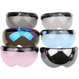 Wholesale Rubber Helmet - 2016 Fashion motorcycle helmet lens three button W type mirror W Visor Air Force helmet lens Made of PC