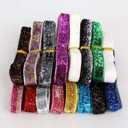 Costura de veludo on-line-Fita Do Laço Brilho Fita De Veludo De Glitter Aleatória Cor Mix para Artesanato / Costura DIY Festa de Casamento Material de Jóias 12y / lot (1y / color)