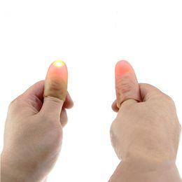 Wholesale flash funny - 1 Pair Funny Novelty Electronic LED Light Flashing Fingers Magic Trick Props Kids Amazing Glow Toys Children Luminous Decor Gift