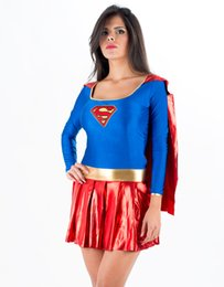 heroes women costume Promo Codes - New Arrival Hot Carnival Super Hero Uniform Adult DC comics costume Fancy Dress Stunning Supergirl Costume W208996