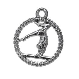 Wholesale Gymnastics Charm Bracelet - Myshape Charms Jewelry Hollow circle Gymnastic Charm Silver plated DIY charms the pendant for bracelets necklaces