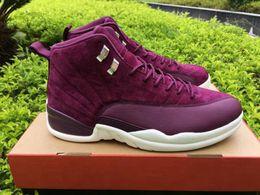 Wholesale High School Shoes - 2017 New Arrival Public School PSNY X Air Retro 12 Bordeaux Sail-Metallic Silver Basketball Shoes High Quality Men Basketball Shoes 8-13