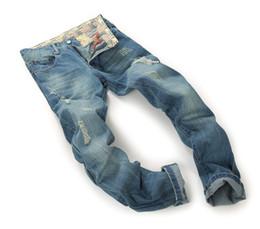 Wholesale Bike Sizes For Men - Brand Mens Jeans Straight Ripped Jeans For Men High Quality Button Fly Denim Bike Jeans Men Fashion Designer Pants Jean Homme